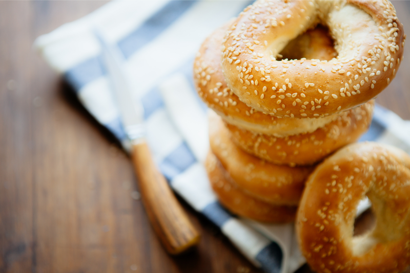 A stack of Montreal-style bagels