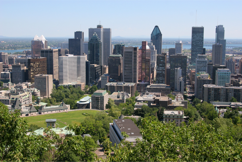 Montreal city centre in summer