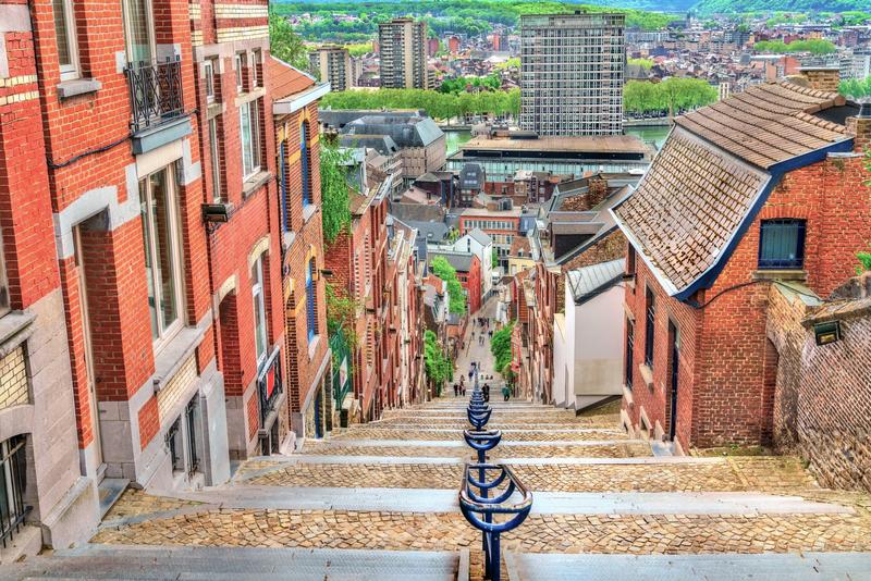 Montagne de Bueren, a 374-step staircase in Liege City, Belgium