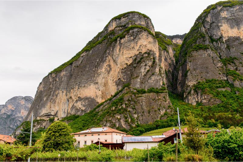 Mezzocorona houses with the Dolomites in the background
