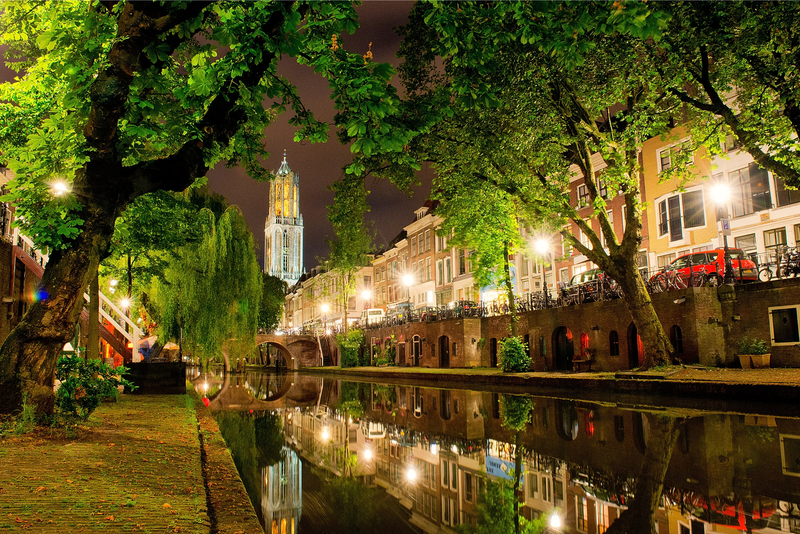 Lights reflected in the canal in Oudegracht, Utrecht