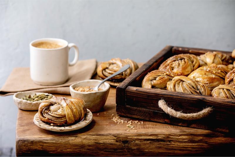 Cardamom buns for fika, in Sweden