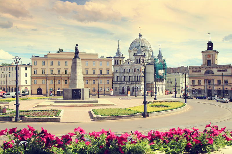 Freedom Square and pink flowers in Lodz, Poland