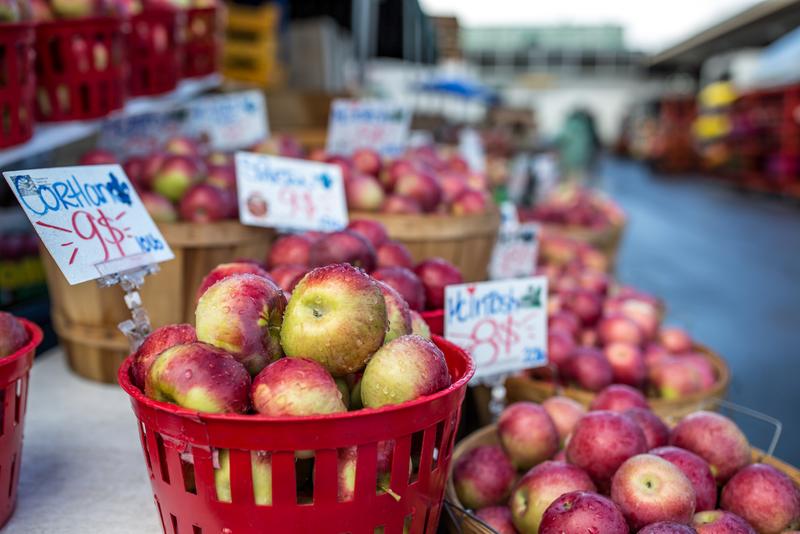 Apple baskets in a market stall in the Jean-Talon Market, Montreal.