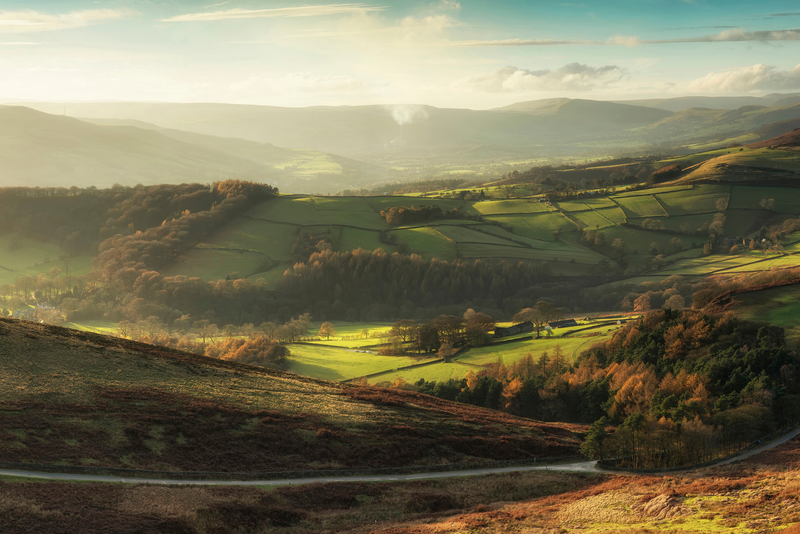 Landscape view of Hope Valley in Peak District during autumn sunset.