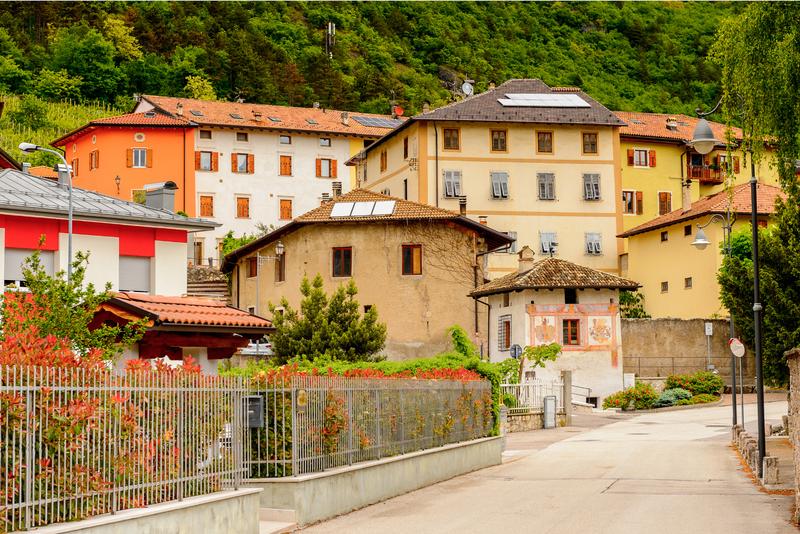 Houses and buildings in Mezzocorona, Italy