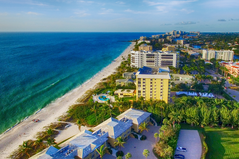 An aerial view of the coastline in Naples, Florida