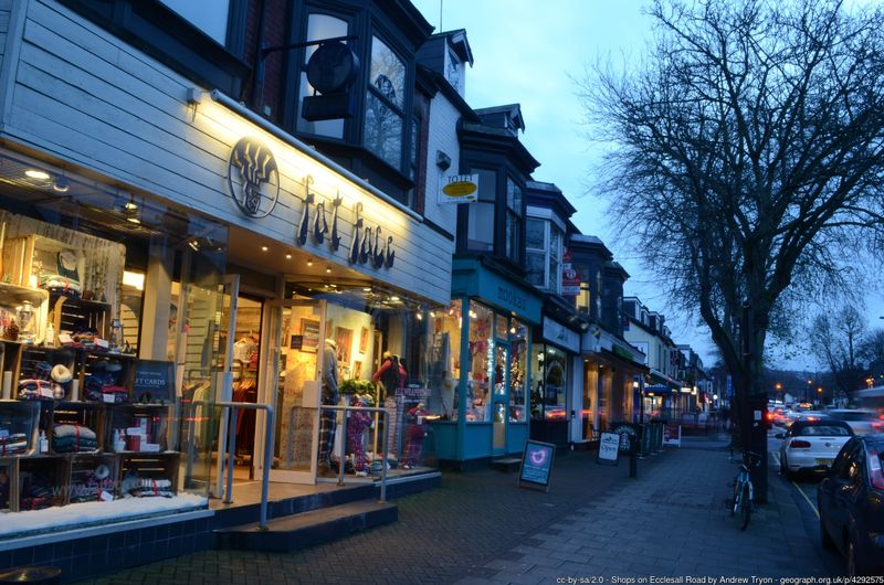 Shops on Ecclesall Road, Sheffield