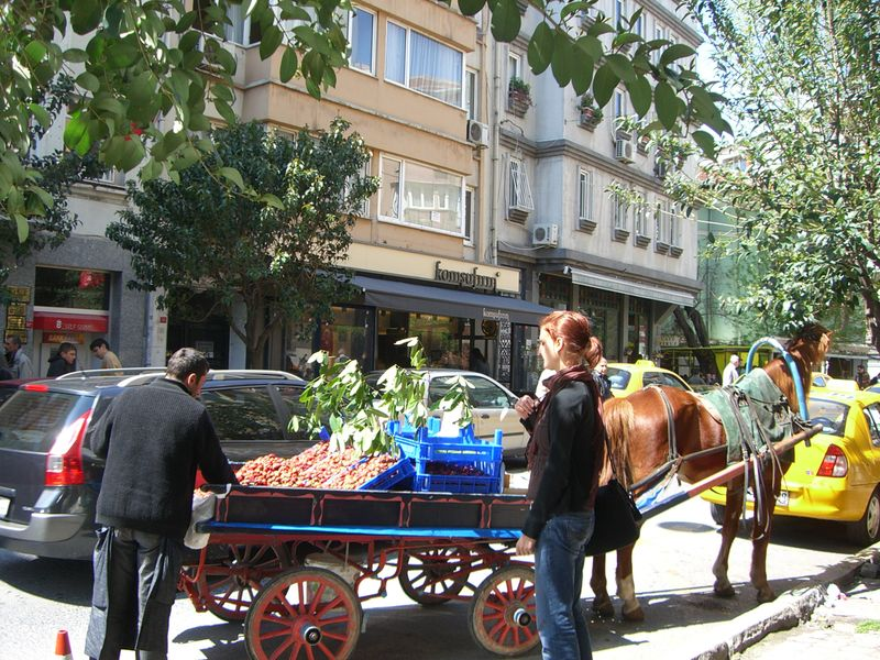A woman buying strawberries from a cart in Cihangir