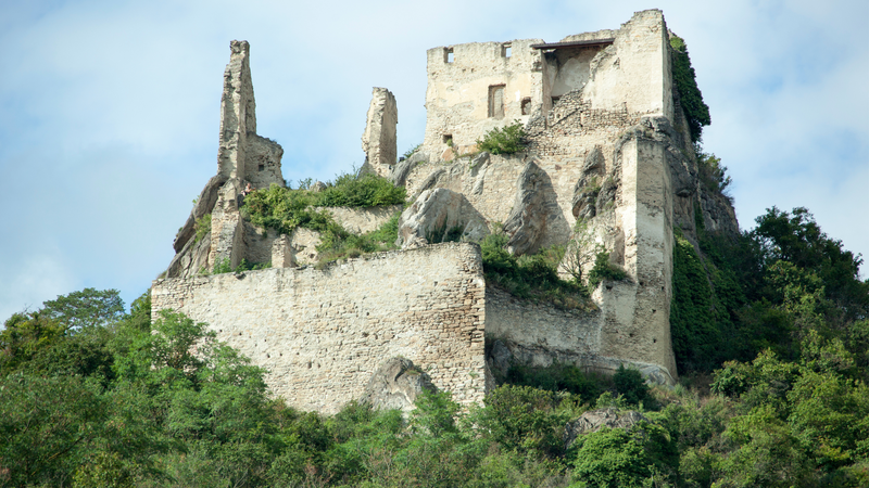 The ruins of Durnstein town castle where King Richard the Lionheart was held captive in 12th century (Austria)