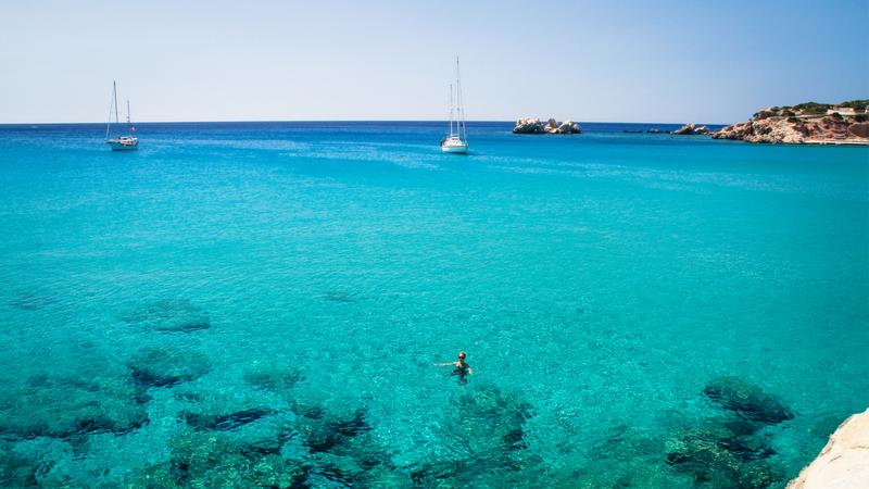 The clear waters of the Mediterranean in Karpathos, Greece