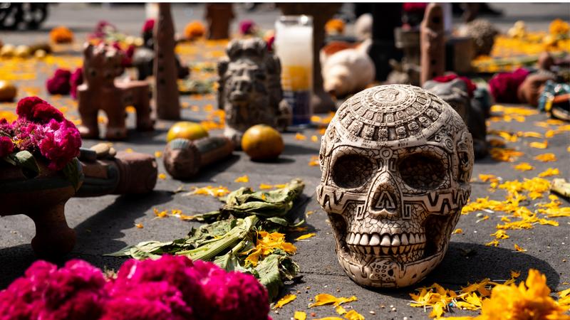"""Dia de los Muertos"" colorful decoration in Plaza del Zócalo, Mexico City's main square"