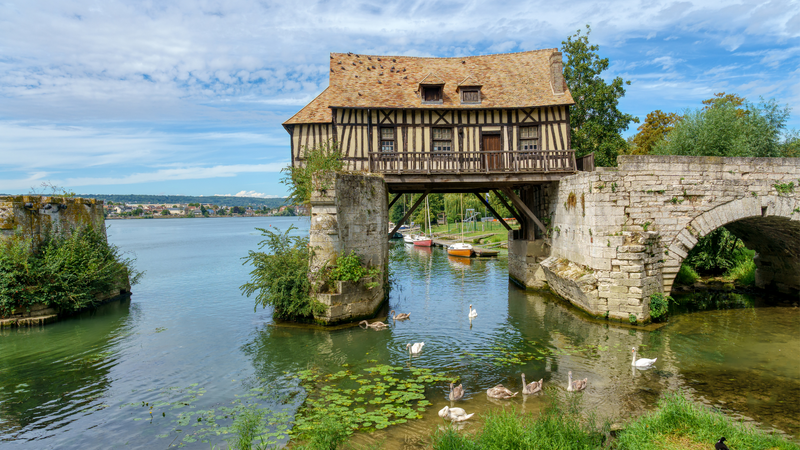 The Old Mill and broken bridge in Vernon, France