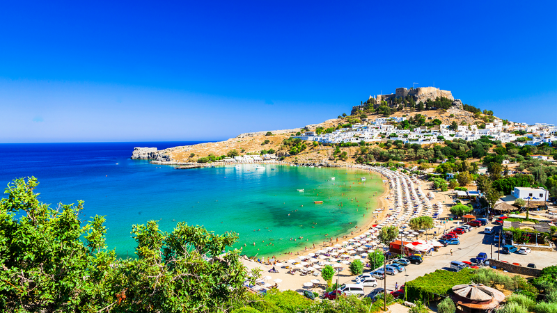 Beautiful view over Lindos Bay in Rhodes, Greece