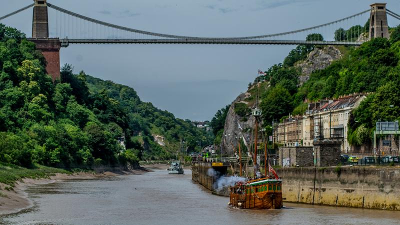 The Matthew sailing under the Clifton Suspension Bridge in Bristol