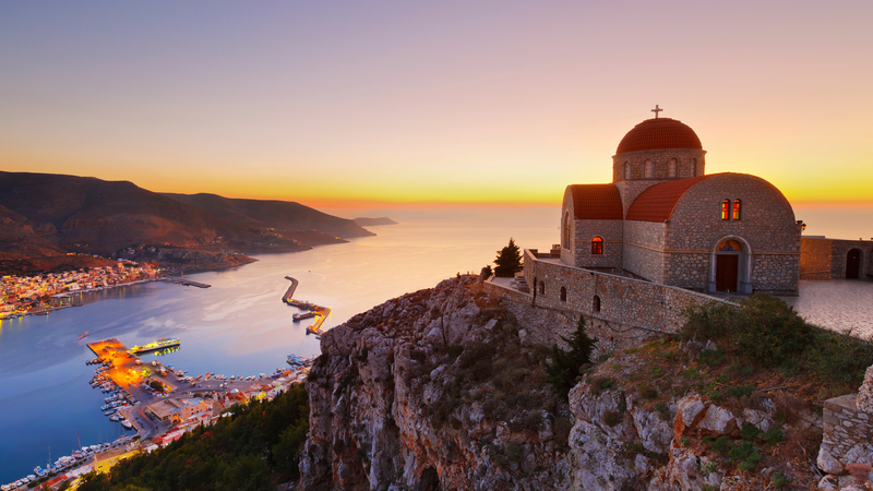 The Monastery of St. Sava above Kalymnos town in Dodecanese, Greece