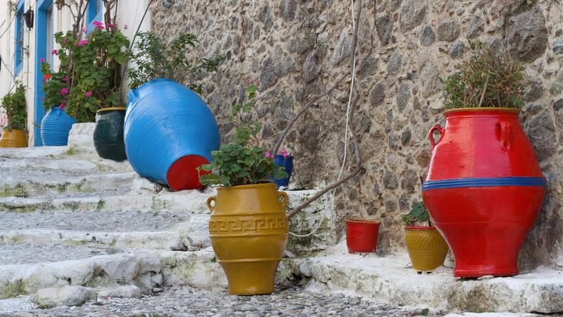Colourful Greek vases in Kos, Greece