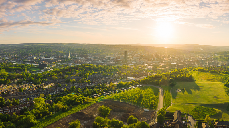 Panorama of Sheffield City and the surrounding suburbs and green space