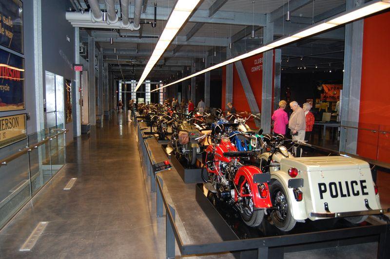 Inside the Harley Davidson Museum in Milwaukee