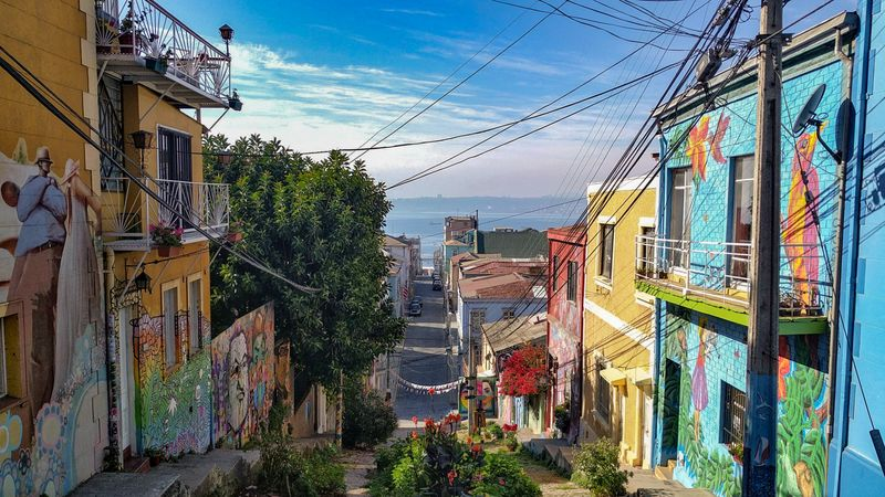 Colourful buildings leading down to the sea in Valparaiso, Chile
