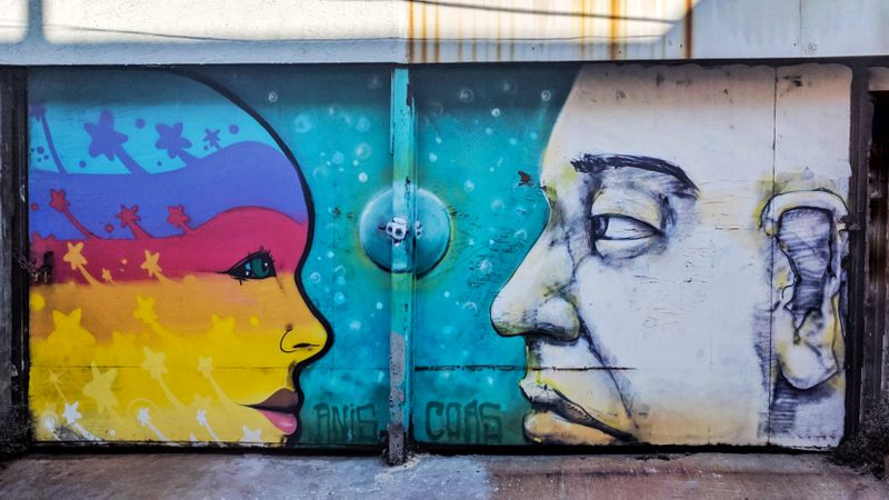 Street art of two faces in Valparaiso, Chile