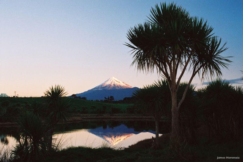 Mount Taranaki reflected in the Whanganui River.