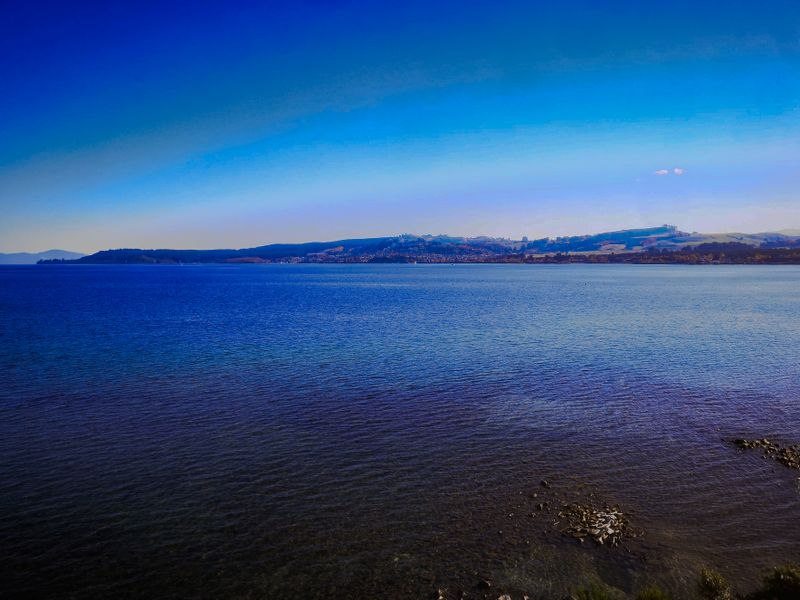 The blue waters of Lake Taupo
