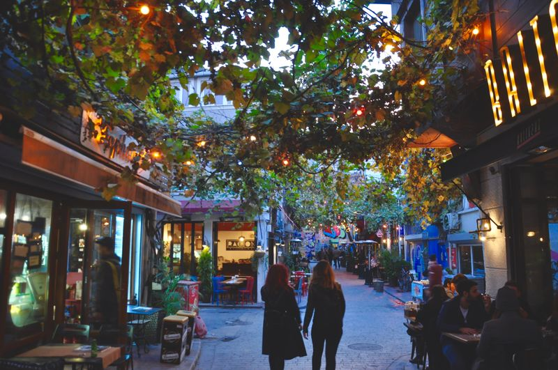 Outdoor dining in Karakoy at the evening