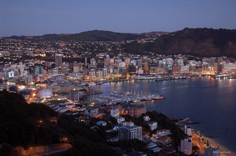 Wellington Harbour at night.