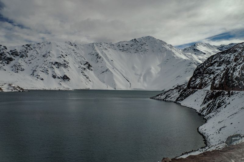 Silver lake in the Andes