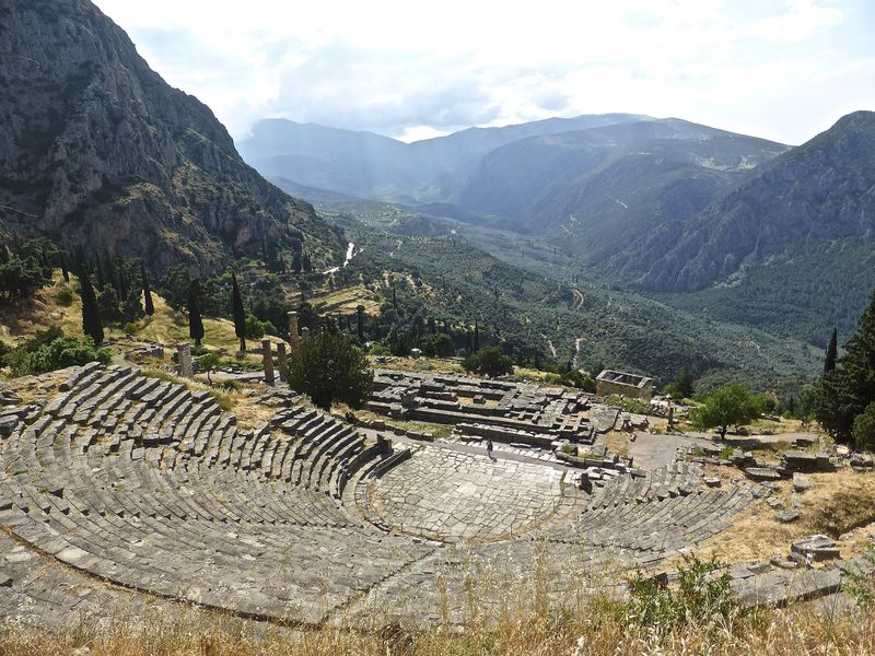 Spectacular views from the theatre at Delphi