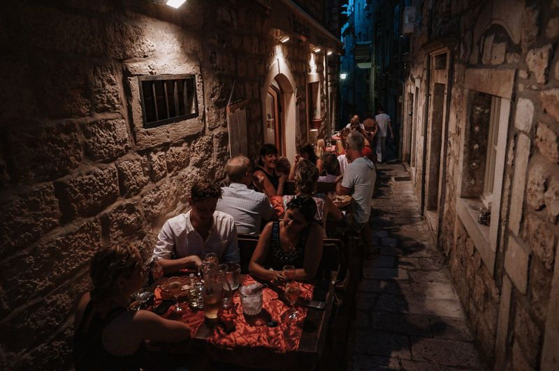 A traditional dinner in Korcula
