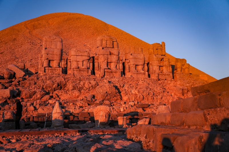 The ancient statues at Mount Nemrut at sunrise