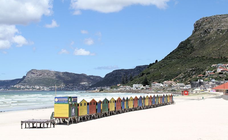 The colourful sheds at Muizenberg Beach