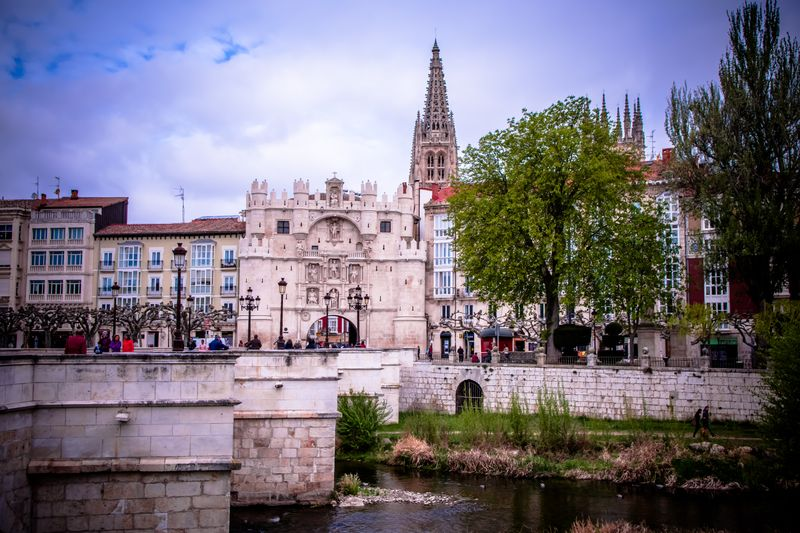 Looking across the river at the old gate into Burgos
