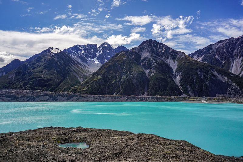 Tasman Lake and the Southern Alps in Aoraki / Mt Cook National Park