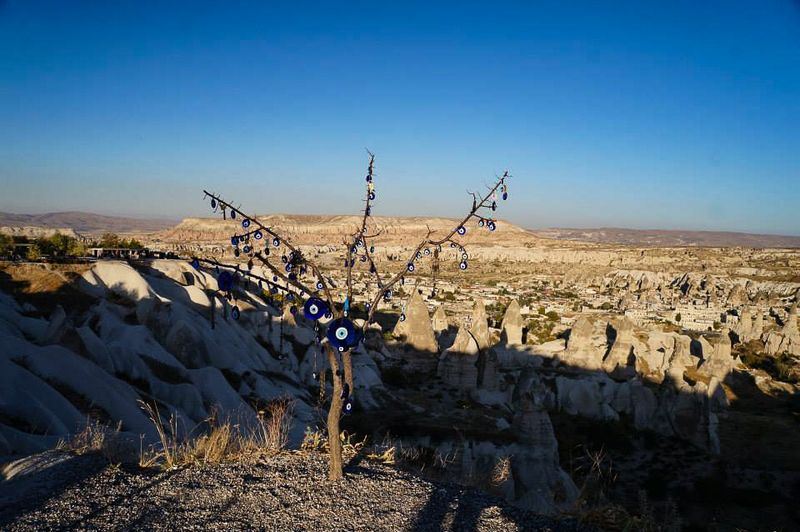 Tree adorned with nazar (charms against the evil eye) in Cappadocia