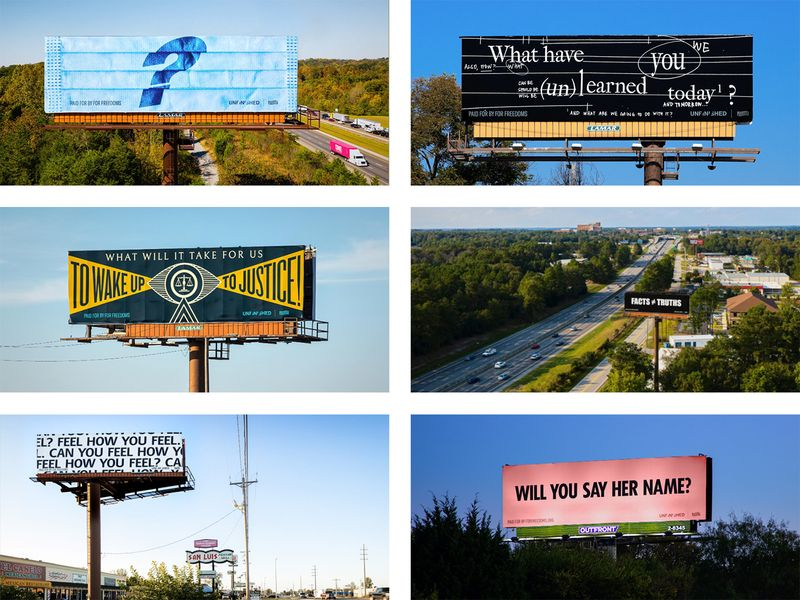 6 billboards from For Freedoms' 2020 Awakening campaign