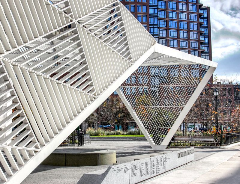 Steel structure in the centre of New York City, NYC Aids Memorial