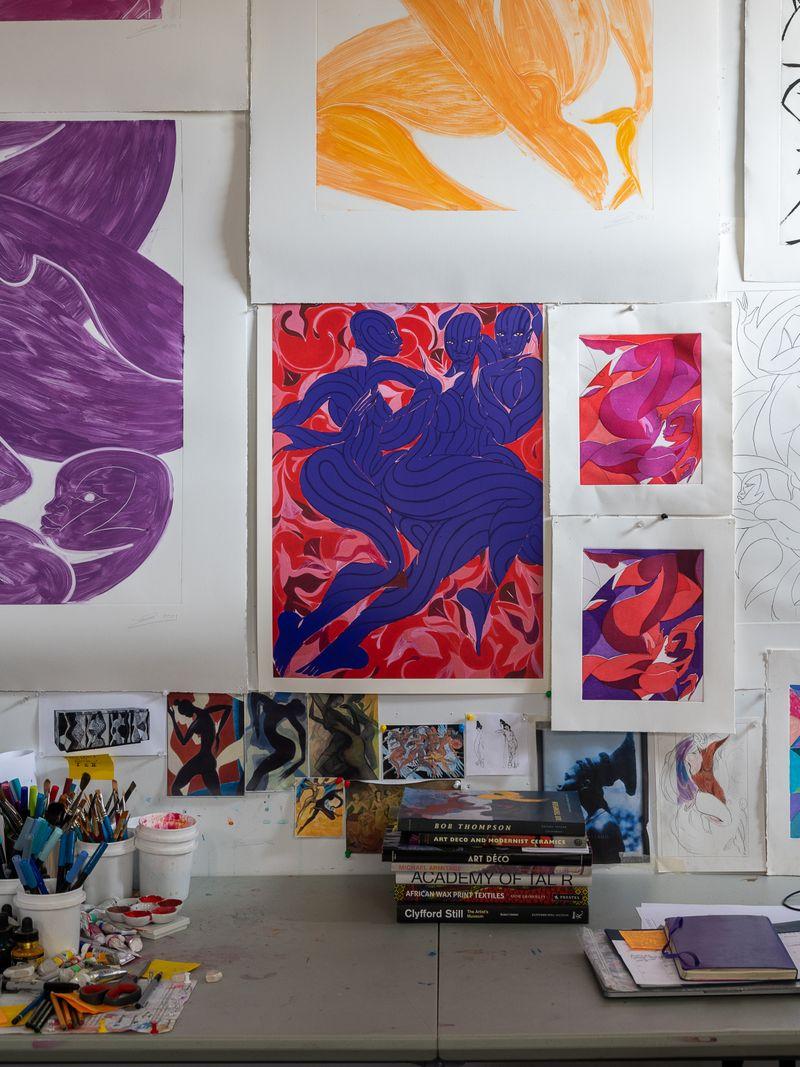 A wall of sketches, in the studio of Tunji Adeniyi-Jones