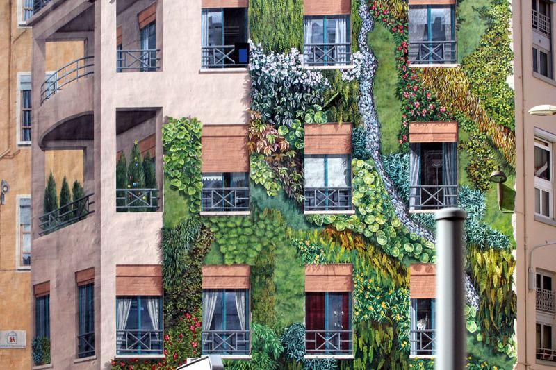 """A part of """"La Mur des Canuts"""" in the Croix-Rousse district - Lyon, France."""