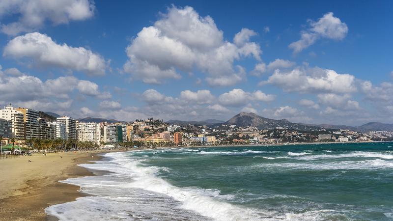 Malaga beach on the Costa Del Sol in southern Spain