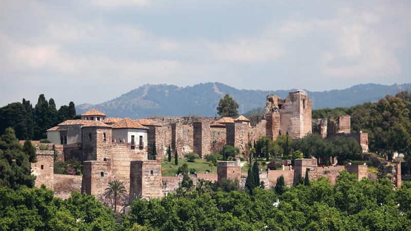 The ancient Moorish fortress, Alcazaba, of Malaga in Andalusia Spain