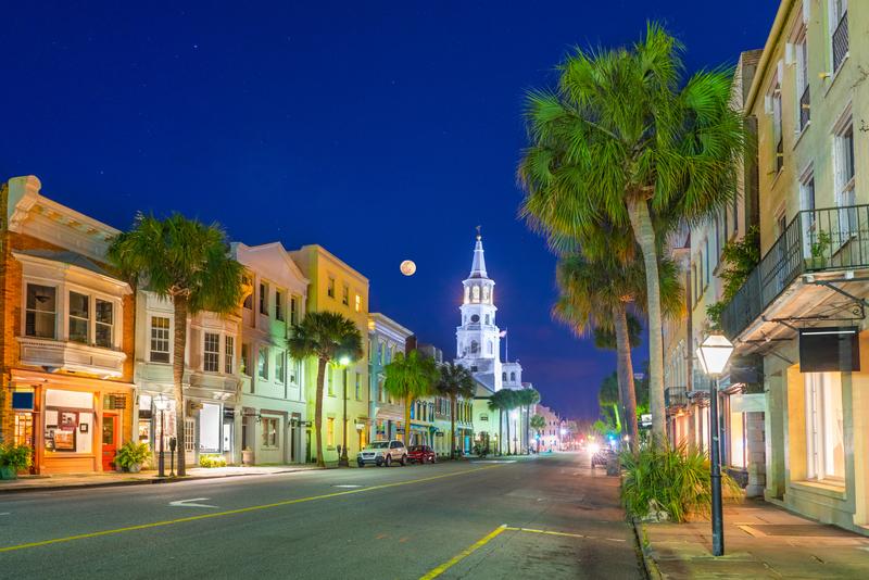Broad Street Panorama in Charleston, South Carolina, USA.