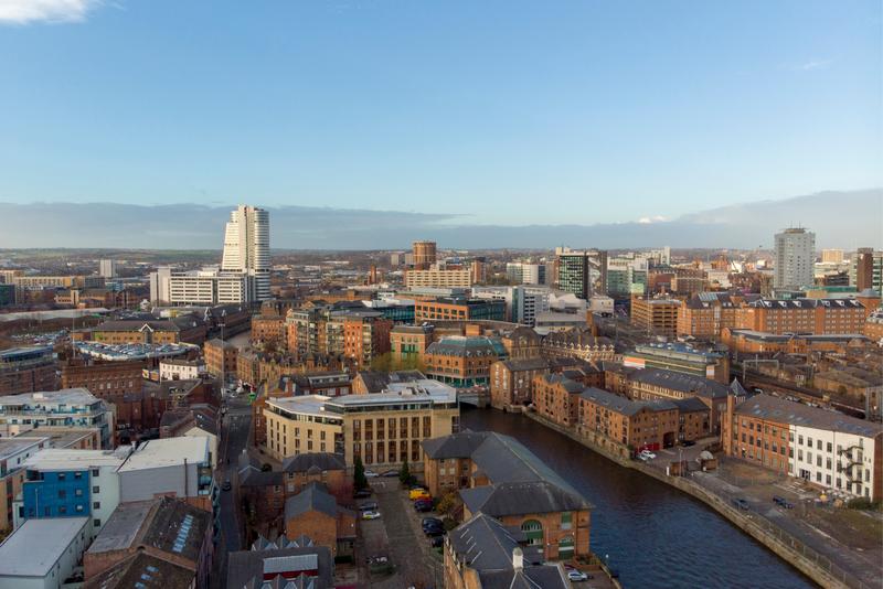 Aerial view of Leeds city centre