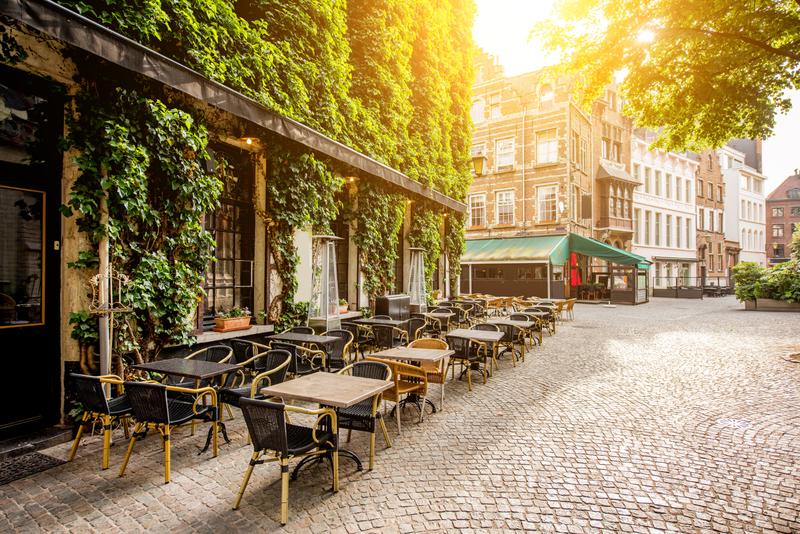 An outdoor terrace in Antwerp, Belgium