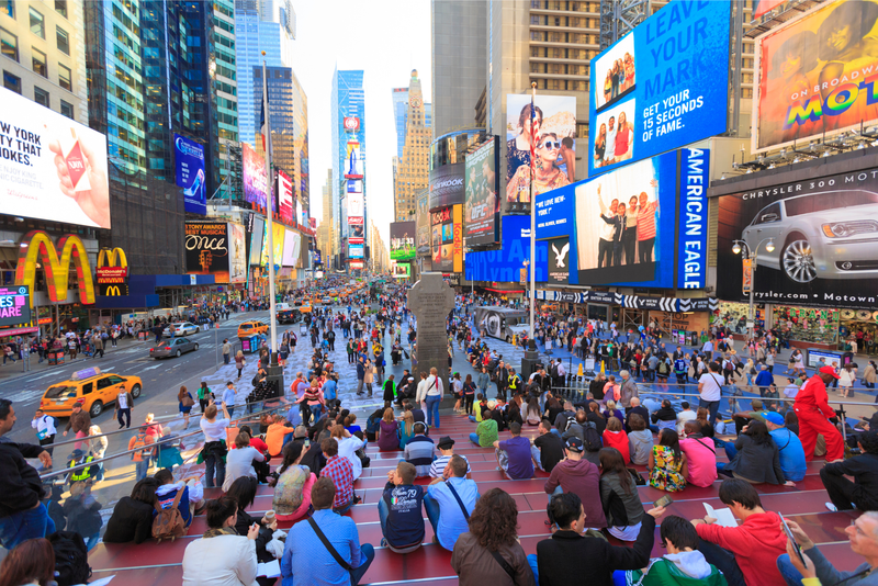 Duffy square in Time Square, New York City