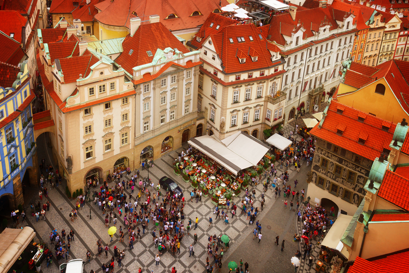 Market square in the old town, Prague, Czech Republic, toned