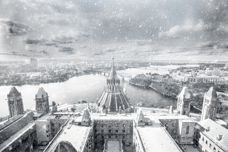 Parliament Hill in Ottawa on a snowy, winter day