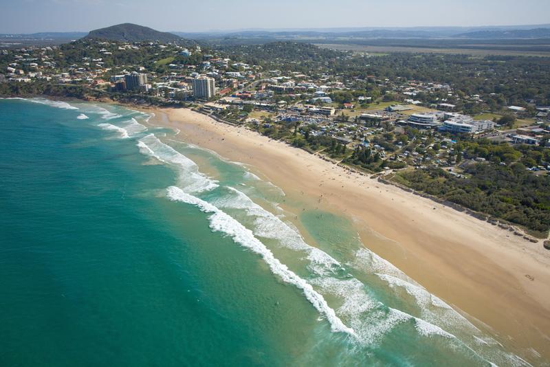 Aerial photo of Coolum Beach Australia.